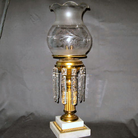Brass Solar Lamp with Factory Converted 4-Tube Burning Fluid Burner Typical of the 1850's