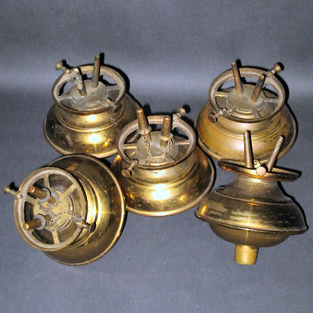 Matched set of five peg lamps with burners. Possible for a girandole.