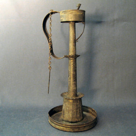 Fat Lamp with inclined wick support sometimes known as a Convent Lamp