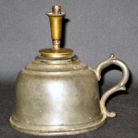 Rogers patented burner on pewter finger lamp.